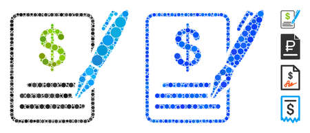 Vertragszusammensetzung aus kleinen Kreisen in verschiedenen Größen und Farbtönen, basierend auf dem Vertragssymbol. Kleine Kreise des Vektors werden in blaue Zusammensetzung zusammengesetzt.