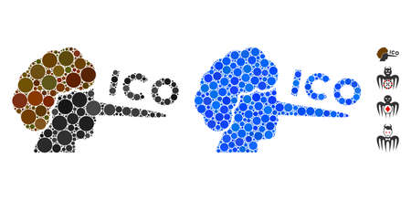ICO liar composition of small circles in different sizes and color hues, based on ICO liar icon. Vector filled circles are grouped into blue composition.