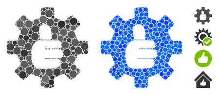 Gear thumb OK mosaic of circle elements in different sizes and color tones, based on gear thumb OK icon. Vector circle elements are grouped into blue illustration.