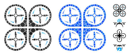 Quadrotor screws rotation mosaic of circle elements in various sizes and color tinges, based on quadrotor screws rotation icon. Vector circle elements are grouped into blue illustration.