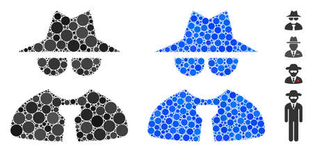 Mafia boss mosaic of filled circles in different sizes and shades, based on mafia boss icon. Vector small circles are organized into blue mosaic. Dotted mafia boss icon in usual and blue versions. Ilustração