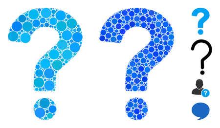 Composition de requête d'éléments de cercle dans des tailles et des teintes de couleur variables, en fonction de l'icône de requête. Les éléments du cercle vectoriel sont regroupés en mosaïque bleue. Icône de requête en pointillé dans les versions habituelle et bleue.