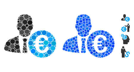 Euro banker composition of round dots in variable sizes and color tones, based on Euro banker icon. Vector random circles are organized into blue composition.