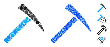 Mining hammer composition of small circles in different sizes and color tints, based on mining hammer icon. Vector small circles are combined into blue composition.