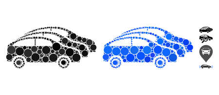 Car traffic mosaic of small circles in various sizes and color tints, based on car traffic icon. Vector small circles are grouped into blue illustration.