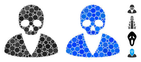 Death man mosaic of spheric dots in variable sizes and shades, based on death man icon. Vector dots are organized into blue mosaic. Dotted death man icon in usual and blue versions. Illustration