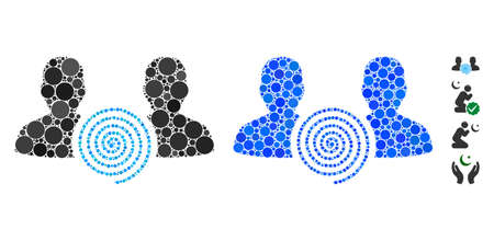 Hypnosis sect composition of small circles in various sizes and color tones, based on hypnosis sect icon. Vector small circles are organized into blue collage. Çizim