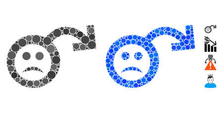 Sad impotence mosaic of circle elements in different sizes and color tints, based on sad impotence icon. Vector round elements are grouped into blue mosaic. Ilustrace