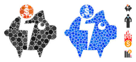 Piggy bankruptcy composition of small circles in various sizes and color hues, based on piggy bankruptcy icon. Vector small circles are combined into blue composition.