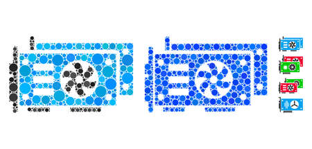 GPU video cards mosaic of spheric dots in different sizes and color tinges, based on GPU video cards icon. Vector dots are composed into blue collage.