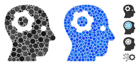 Thinking gear mosaic of filled circles in various sizes and color tones, based on thinking gear icon. Vector random circles are grouped into blue mosaic. Illustration