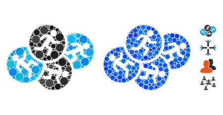 Running men mosaic of round dots in different sizes and color hues, based on running men icon. Vector round dots are composed into blue mosaic. Dotted running men icon in usual and blue versions. Illustration
