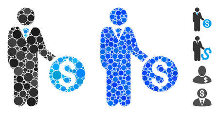 Banker mosaic of spheric dots in various sizes and shades, based on banker icon. Vector circle elements are grouped into blue mosaic. Dotted banker icon in usual and blue versions.
