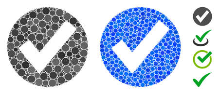 OK mark mosaic of round dots in various sizes and shades, based on OK mark icon. Vector round dots are united into blue collage. Dotted OK mark icon in usual and blue versions. Vecteurs
