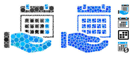 Service timetable mosaic of filled circles in different sizes and color tones, based on service timetable icon. Vector filled circles are grouped into blue illustration. Stock Illustratie