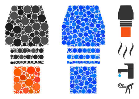 Gas burner nozzle composition of small circles in different sizes and color tones, based on gas burner nozzle icon. Vector filled circles are organized into blue composition.