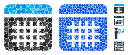 Calendar composition of circle elements in various sizes and color tints, based on calendar icon. Vector circle elements are grouped into blue mosaic. Dotted calendar icon in usual and blue versions. Stock Illustratie