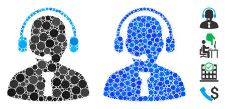 Reception operator composition of small circles in various sizes and shades, based on reception operator icon. Vector small circles are combined into blue mosaic.