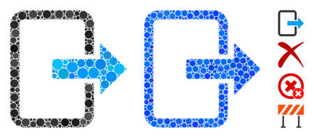 Exit door mosaic of round dots in variable sizes and color hues, based on exit door icon. Vector dots are grouped into blue mosaic. Dotted exit door icon in usual and blue versions.