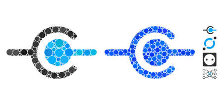 Wire connection mosaic of spheric dots in various sizes and color tinges, based on wire connection icon. Vector round dots are combined into blue mosaic. Ilustração