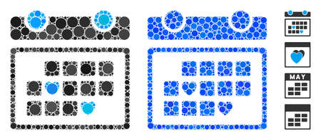 Favourite days composition of spheric dots in various sizes and color tints, based on favourite days icon. Vector round dots are united into blue composition.