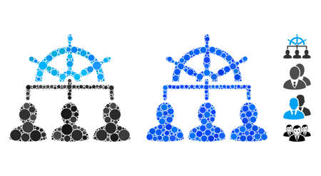 Management steering wheel composition of round dots in variable sizes and color tinges, based on management steering wheel icon. Vector dots are combined into blue illustration.