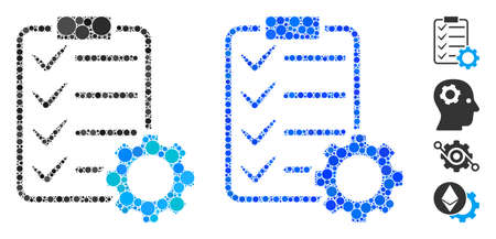 Smart contract gear composition of small circles in variable sizes and color tints, based on smart contract gear icon. Vector small circles are combined into blue composition.