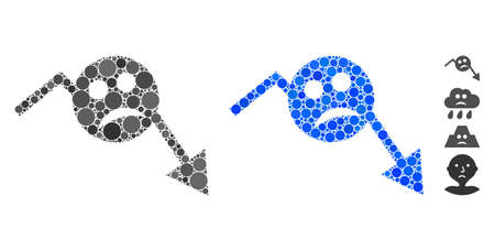 Depression smiley trend arrow mosaic of filled circles in various sizes and color hues, based on depression smiley trend arrow icon. Vector small circles are combined into blue mosaic.