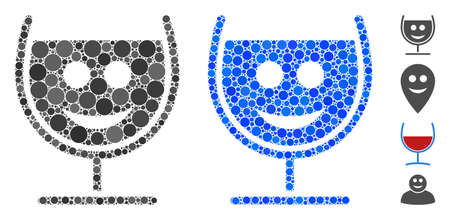 Happy glass wine composition of filled circles in variable sizes and shades, based on happy glass wine icon. Vector random circles are composed into blue illustration.
