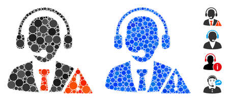 Emergency service composition of round dots in various sizes and color tints, based on emergency service icon. Vector round dots are organized into blue mosaic. Vectores
