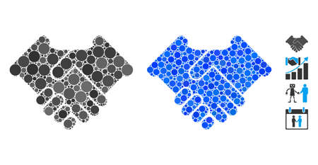 Handshake composition of filled circles in variable sizes and color hues, based on handshake icon. Vector random circles are combined into blue composition.