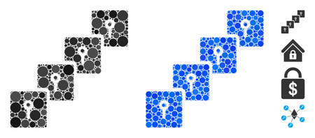 Locker blockchain composition of round dots in variable sizes and color tints, based on locker blockchain icon. Vector round dots are composed into blue composition.