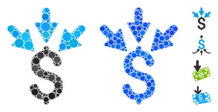 Aggregate payment composition of round dots in various sizes and color tinges, based on aggregate payment icon. Vector round dots are grouped into blue collage. 向量圖像