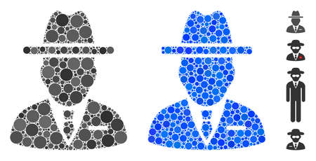Spy person composition of round dots in different sizes and color tints, based on spy person icon. Vector round dots are combined into blue composition. Ilustração