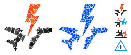 Aircraft disaster composition of filled circles in different sizes and color tints, based on aircraft disaster icon. Vector round dots are united into blue composition.