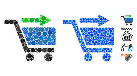 Check out cart mosaic of round dots in different sizes and color tints, based on check out cart icon. Vector round dots are organized into blue illustration.