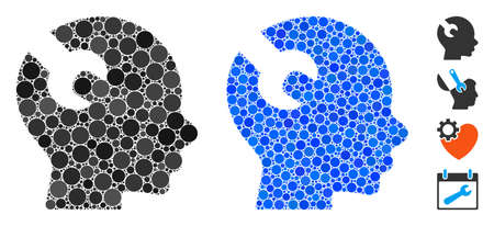 Brain wrench tool composition of circle elements in different sizes and shades, based on brain wrench tool icon. Vector round elements are grouped into blue composition.