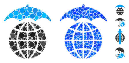 Global umbrella composition of round dots in variable sizes and color hues, based on global umbrella icon. Vector round dots are grouped into blue illustration. Ilustrace