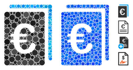 Euro document composition of circle elements in variable sizes and color tints, based on Euro document icon. Vector circle elements are organized into blue composition. Çizim