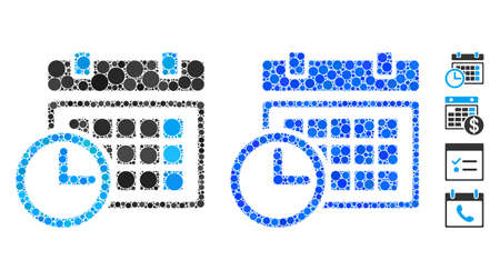 Date and time mosaic of round dots in different sizes and shades, based on date and time icon. Vector round dots are composed into blue illustration.