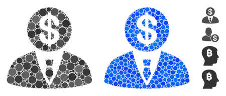 Banker composition of small circles in various sizes and color tinges, based on banker icon. Vector small circles are composed into blue composition. Dotted banker icon in usual and blue versions. 向量圖像