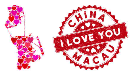 Love collage Chinese Macau map and corroded stamp seal with I Love You text. Chinese Macau map collage formed with randomized red heart symbols. Red rounded I Love You seal stamp with unclean texture. Illustration