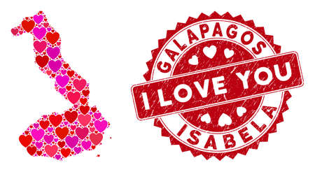 Lovely mosaic Isabela Island of Galapagos map and grunge stamp seal with I Love You badge. Isabela Island of Galapagos map collage formed with random red heart icons.