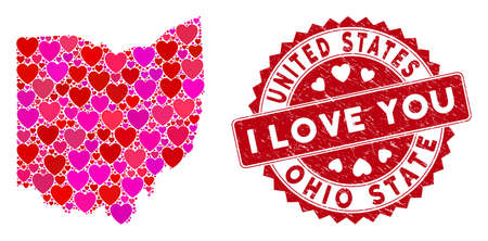 Love collage Ohio State map and rubber stamp seal with I Love You phrase. Ohio State map collage formed with randomized red heart items. Red round I Love You seal stamp with distress texture.