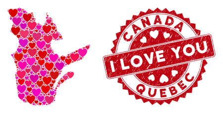 Love collage Quebec Province map and corroded stamp watermark with I Love You words. Quebec Province map collage composed with random red heart icons.