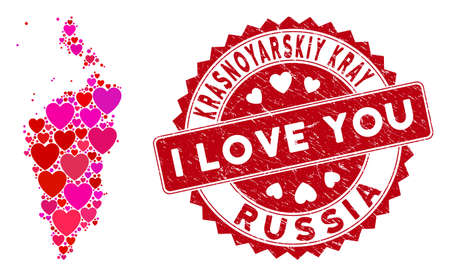 Love collage Krasnoyarskiy Kray map and grunge stamp seal with I Love You message. Krasnoyarskiy Kray map collage composed with random red heart icons. Red round I Love You seal with dirty texture.