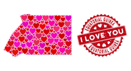 Love collage Equatorial Guinea map and grunge stamp seal with I Love You message. Equatorial Guinea map collage composed with random red heart items. Red rounded I Love You stamp with unclean texture.