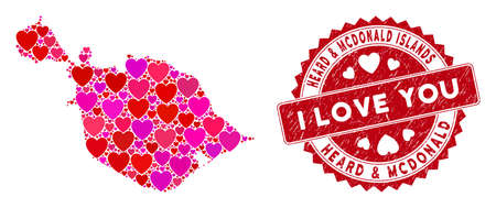 Love collage Heard and McDonald Islands map and grunge stamp seal with I Love You badge. Heard and McDonald Islands map collage composed with randomized red heart icons. Ilustração Vetorial