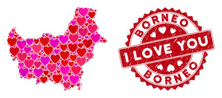 Lovely collage Borneo map and grunge stamp seal with I Love You caption. Borneo map collage created with scattered red heart symbols. Red rounded I Love You seal stamp with dirty texture.