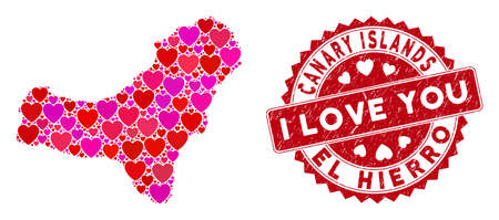 Love collage El Hierro Island map and grunge stamp watermark with I Love You message. El Hierro Island map collage constructed with randomized red heart items. Illustration